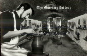 Potter at Wheel The Guernsey Pottery Occupation Real Photo Postcard