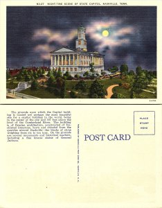 Night Time Scene of State Capitol, Nashville, Tennessee