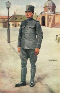Military postcard Infanterie Soldaat in uitgaanstenue 02.14