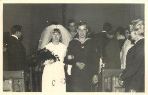 Postcard Wedding bride groom marriage lovers dress family social history navyma