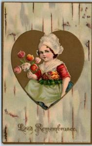 1910s VALENTINE'S DAY Postcard Dutch Girl / Tulip Flowers Love's Remembrance