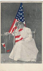 CONTEMPLATION , Woman & Sword & Flag , 1907