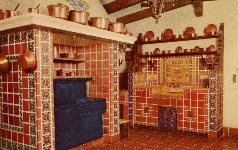 CA - Death Valley. Scotty's Castle, Spanish Style Kitchen