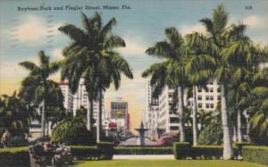 Florida Miami  Bayfront Park and Flagler Street 1945