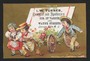 VICTORIAN TRADE CARD Turner Druggist Three Kids Pulling Cart & Flowers