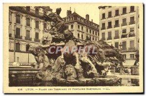 Old Postcard Lyon Terreaux Square and Bartholdi Fountain