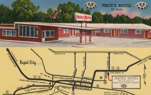 RAPID CITY , South Dakota , 50-60s ; Price's Motel , map