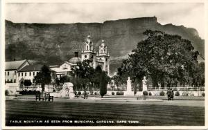 South Affrica - Capetown. Municipal Gardens and Table Mountain - RPPC