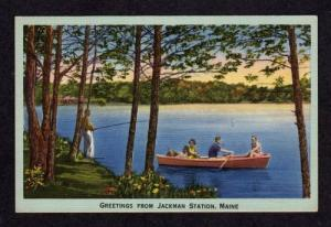 ME Greetings From Jackman Station MAINE Linen Postcard