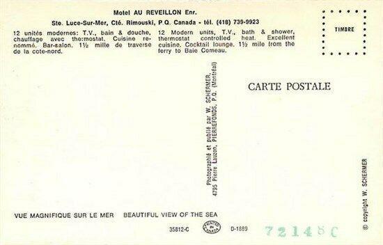 Canada, Quebec, Ste Luce-Sur-Mer, Cte. Rimouski, Motel Au Reveillon Enr.