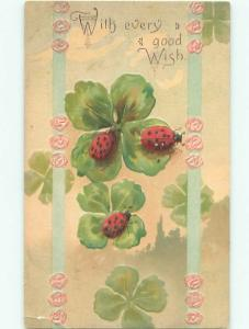Pre-Linen LADYBUG INSECTS ON FOUR LEAF CLOVER AC5862