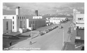 Anchorage Alaska~4th Avenue-Main Street~Bicycle~Classic Cars~1950s RPPC