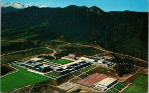 Aerial of Pikes Peak and Air force Academy vintage - chrome - POSTCARD