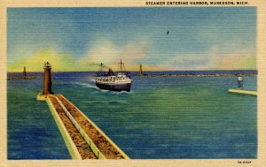 MI - Muskegon. Steamer Entering Harbor