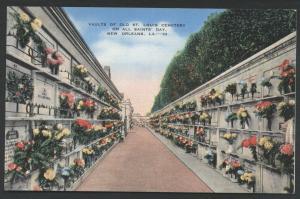 Cemetery Vaults Saints St. Louis New Orleans Louisiana Scene Postcard