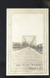 RPPC EUDORA KANSAS KAW RIVER BRIDGE REAL PHOTO POSTCARD 1915 STOVER MISSOURI