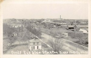 LP15   RPPC Stockton Kansas Postcard Birds Eye View
