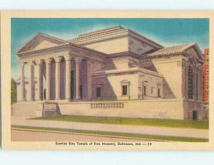 Unused Linen FREE MASON TEMPLE CHURCH Baltimore Maryland MD L4559