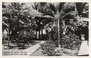 RP:Jardin del Hotel Rosita , PUERTO VALLARTA , Jal. , Mexico , 1956