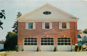 Carmel NewYork~3 Firetruck Garagee @ Fire Department~Oval Window~1950s Postcard