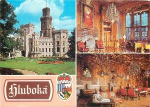 Postcard Czech republic multi view zamek vltavo hluboka castle interior exterior
