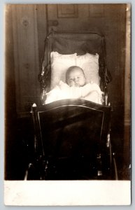 Real Photo Postcard~Precious Baby in Victorian Buggy~Carriage~Lacy Gown~c1908