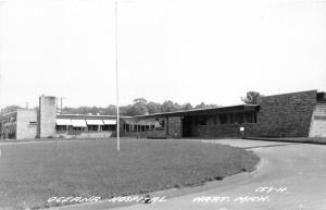 Hart Michigan~Oceana Hospital~Circular Driveway~Flagpost on Lawn~1950s RPPC