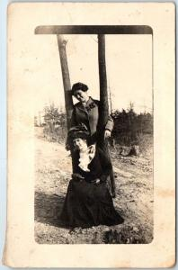 Vintage RPPC Photo Postcard Two Girls in Nice Clothes Outdoors Painted Rock