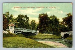 St Louis MO-Missouri, Bridge And River Des Peres, Forest Park, Vintage Postcard