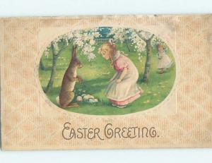 Pre-Linen easter BUNNY RABBIT ON HINDLEGS IS ALMOST AS TALL AS GIRL HL0571
