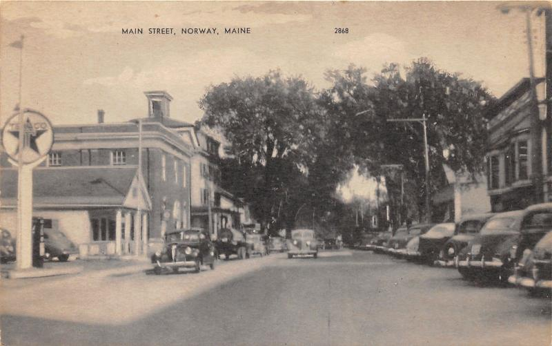 Norway Maine~Main Street~Texaco Gas Pump~Cars Parked along Storefronts~1940s Pc