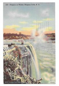 NY Niagara Falls Winter Vtg Otto Ulbrich Linen Postcard 1945