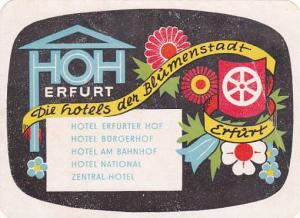 GERMANY ERFURT ERFURT HOTELS VINTAGE LUGGAGE LABEL