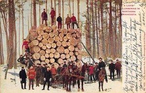 Logging Post Card Load Lumbering Northern Minnesota, USA Postcard 1913