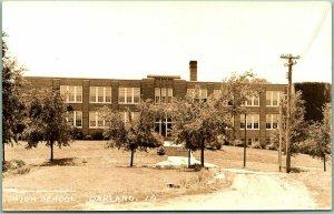 Oakland, Iowa RPPC Real Photo Postcard HIGH SCHOOL Building View c1930s Unused