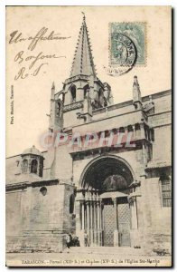 Old Postcard Tarascon Portal s XI and XV century bell tower of the Church Ste...