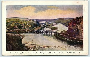 Postcard WV Harpers Ferry from Loudoun Heights Main Line B&O Railroad Card R02