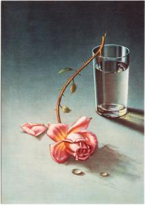 Weeping Rose by Vladimir Tretchikoff Flower and Glass of Water Art Postcard