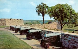 New York Fort Ticonderoga South Wall With French & Spanish Bronze Cannons