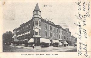 Charles City Iowa Hildreth Hotel Opera House Antique Postcard K47079