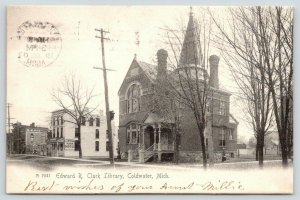 Coldwater Michigan~Edward R Clark Library~Library Park Hotel~1907 B&W