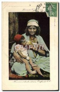 Old Postcard Eastern Beauty Arab Woman and her efant