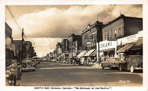 Ontario Canada North Bay Storefronts Old Cars Real Photo Postcard