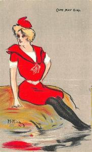 Cape May NJ Girl Artist Signed H. King  J. T. Wilcox Publisher Postcard
