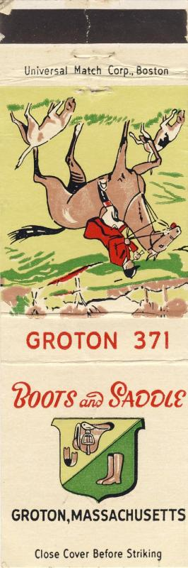 Early Groton, Mass/MA Matchcover, Boots & Saddle Restaurant