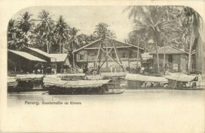 malay malaysia, PENANG, Goodstraffie on Rivers (1899) Postcard