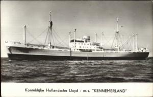Dutch Ship Koninklijke Hollandsche Lloyd MS Kennemerland Real Photo Postcard