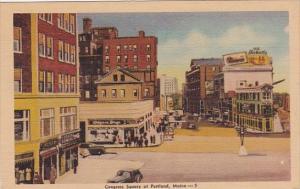 Congress Square Street Scene Portland Maine 1945