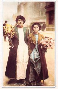 London Flower Sellers, Two young girls sell flowers 1905 Nostalgia Reprint