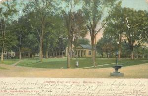 Windham Connecticut~Library on the Green~Horse Watering Trough in Street~1907